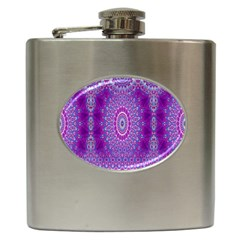 India Ornaments Mandala Pillar Blue Violet Hip Flask (6 Oz) by EDDArt