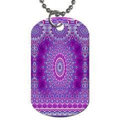 India Ornaments Mandala Pillar Blue Violet Dog Tag (two Sides) by EDDArt