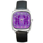 India Ornaments Mandala Pillar Blue Violet Square Metal Watch Front