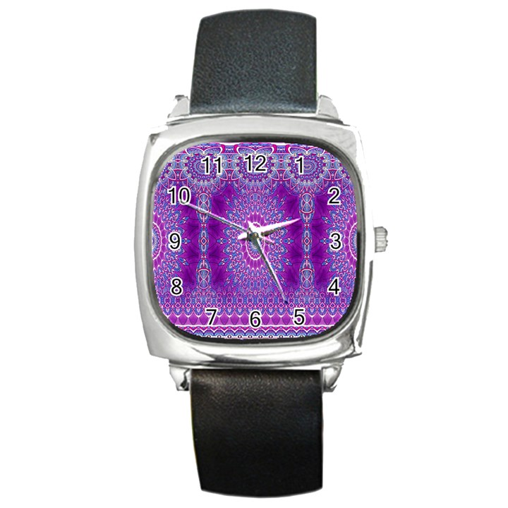 India Ornaments Mandala Pillar Blue Violet Square Metal Watch