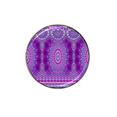 India Ornaments Mandala Pillar Blue Violet Hat Clip Ball Marker by EDDArt