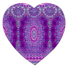 India Ornaments Mandala Pillar Blue Violet Jigsaw Puzzle (heart) by EDDArt