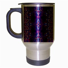 India Ornaments Mandala Pillar Blue Violet Travel Mug (silver Gray) by EDDArt