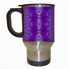 India Ornaments Mandala Pillar Blue Violet Travel Mugs (white) by EDDArt