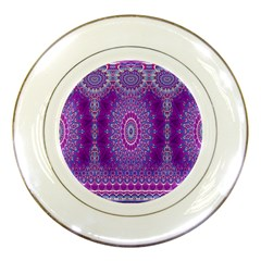 India Ornaments Mandala Pillar Blue Violet Porcelain Plates by EDDArt