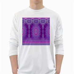India Ornaments Mandala Pillar Blue Violet White Long Sleeve T Shirts