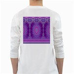 India Ornaments Mandala Pillar Blue Violet White Long Sleeve T-Shirts Back