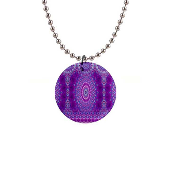 India Ornaments Mandala Pillar Blue Violet Button Necklaces