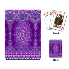 India Ornaments Mandala Pillar Blue Violet Playing Card by EDDArt