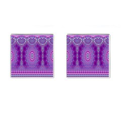 India Ornaments Mandala Pillar Blue Violet Cufflinks (square) by EDDArt