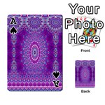 India Ornaments Mandala Pillar Blue Violet Playing Cards 54 Designs  Front - SpadeA
