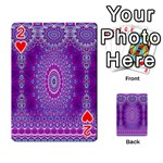 India Ornaments Mandala Pillar Blue Violet Playing Cards 54 Designs  Front - Heart2