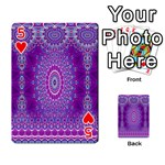 India Ornaments Mandala Pillar Blue Violet Playing Cards 54 Designs  Front - Heart5