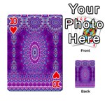 India Ornaments Mandala Pillar Blue Violet Playing Cards 54 Designs  Front - Heart10