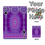 India Ornaments Mandala Pillar Blue Violet Playing Cards 54 Designs  Front - Club5