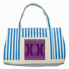 India Ornaments Mandala Pillar Blue Violet Striped Blue Tote Bag by EDDArt