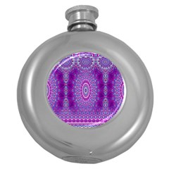 India Ornaments Mandala Pillar Blue Violet Round Hip Flask (5 Oz) by EDDArt