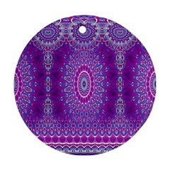 India Ornaments Mandala Pillar Blue Violet Round Ornament (two Sides)  by EDDArt