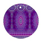 India Ornaments Mandala Pillar Blue Violet Round Ornament (Two Sides)  Back
