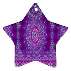 India Ornaments Mandala Pillar Blue Violet Star Ornament (two Sides)  by EDDArt
