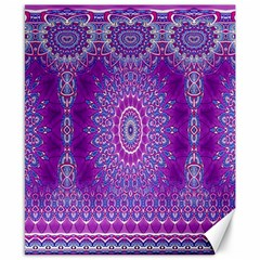 India Ornaments Mandala Pillar Blue Violet Canvas 8  X 10  by EDDArt