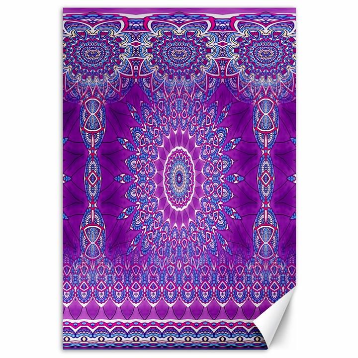India Ornaments Mandala Pillar Blue Violet Canvas 12  x 18