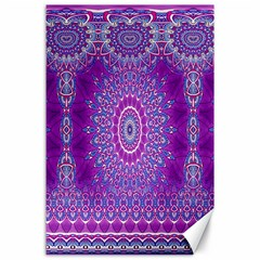 India Ornaments Mandala Pillar Blue Violet Canvas 24  X 36  by EDDArt