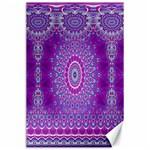India Ornaments Mandala Pillar Blue Violet Canvas 24  x 36