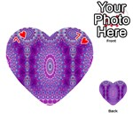 India Ornaments Mandala Pillar Blue Violet Playing Cards 54 (Heart)  Front - Heart7