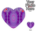 India Ornaments Mandala Pillar Blue Violet Playing Cards 54 (Heart)  Front - Heart9
