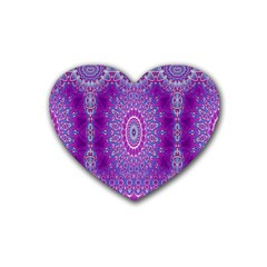 India Ornaments Mandala Pillar Blue Violet Rubber Coaster (heart)  by EDDArt