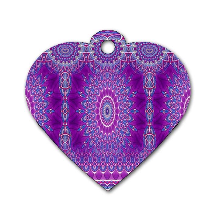 India Ornaments Mandala Pillar Blue Violet Dog Tag Heart (Two Sides)
