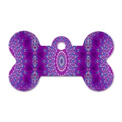 India Ornaments Mandala Pillar Blue Violet Dog Tag Bone (two Sides) by EDDArt