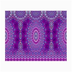 India Ornaments Mandala Pillar Blue Violet Small Glasses Cloth (2 Side) by EDDArt