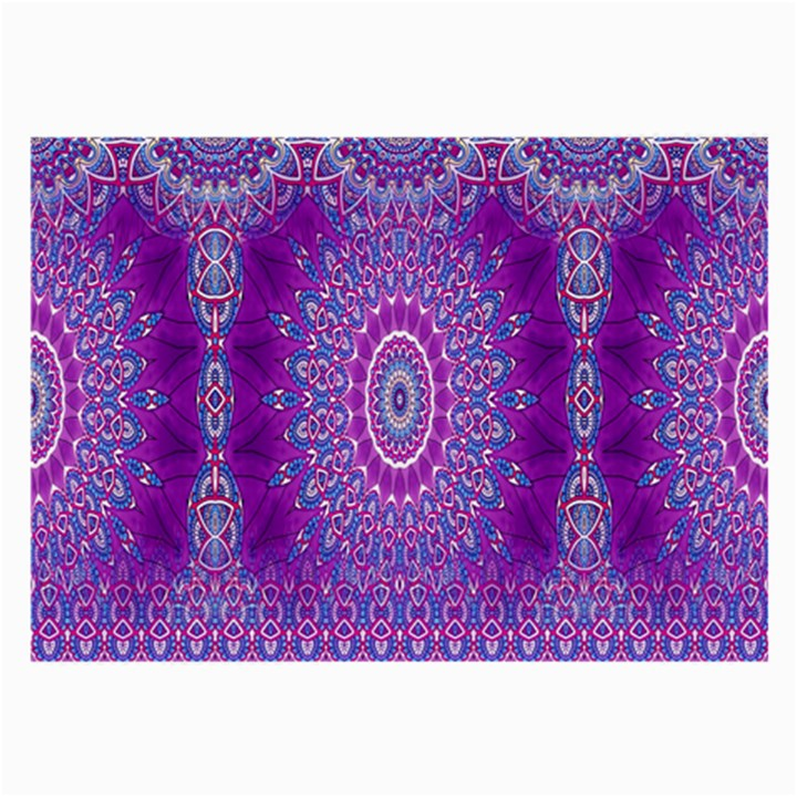 India Ornaments Mandala Pillar Blue Violet Large Glasses Cloth (2-Side)
