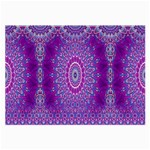India Ornaments Mandala Pillar Blue Violet Large Glasses Cloth (2-Side) Back