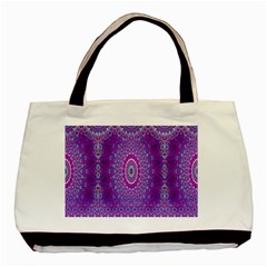 India Ornaments Mandala Pillar Blue Violet Basic Tote Bag (two Sides) by EDDArt