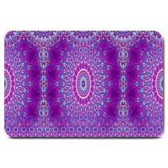 India Ornaments Mandala Pillar Blue Violet Large Doormat  by EDDArt