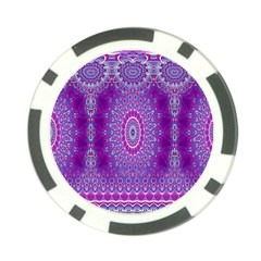 India Ornaments Mandala Pillar Blue Violet Poker Chip Card Guards by EDDArt