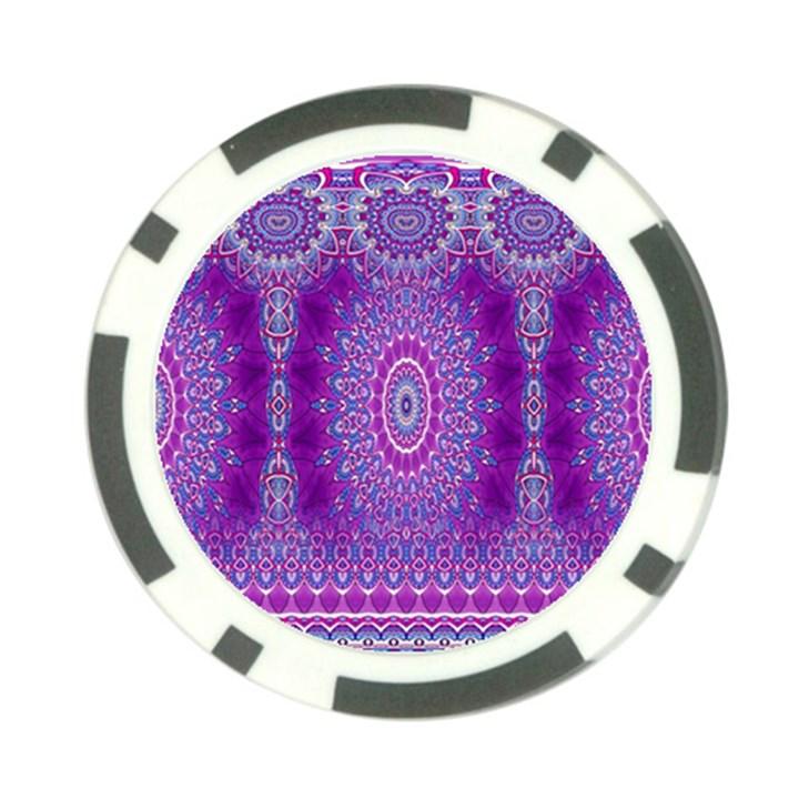 India Ornaments Mandala Pillar Blue Violet Poker Chip Card Guards
