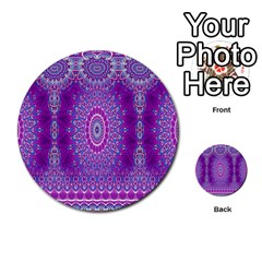 India Ornaments Mandala Pillar Blue Violet Multi Purpose Cards (round)  by EDDArt