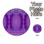 India Ornaments Mandala Pillar Blue Violet Multi-purpose Cards (Round)  Back 2