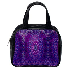India Ornaments Mandala Pillar Blue Violet Classic Handbags (one Side) by EDDArt