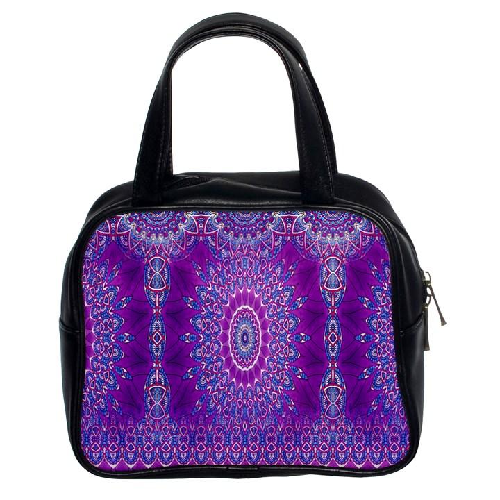 India Ornaments Mandala Pillar Blue Violet Classic Handbags (2 Sides)