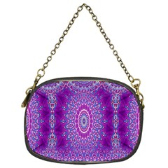 India Ornaments Mandala Pillar Blue Violet Chain Purses (one Side)  by EDDArt