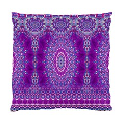 India Ornaments Mandala Pillar Blue Violet Standard Cushion Case (one Side) by EDDArt