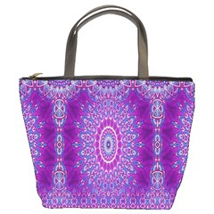 India Ornaments Mandala Pillar Blue Violet Bucket Bags by EDDArt