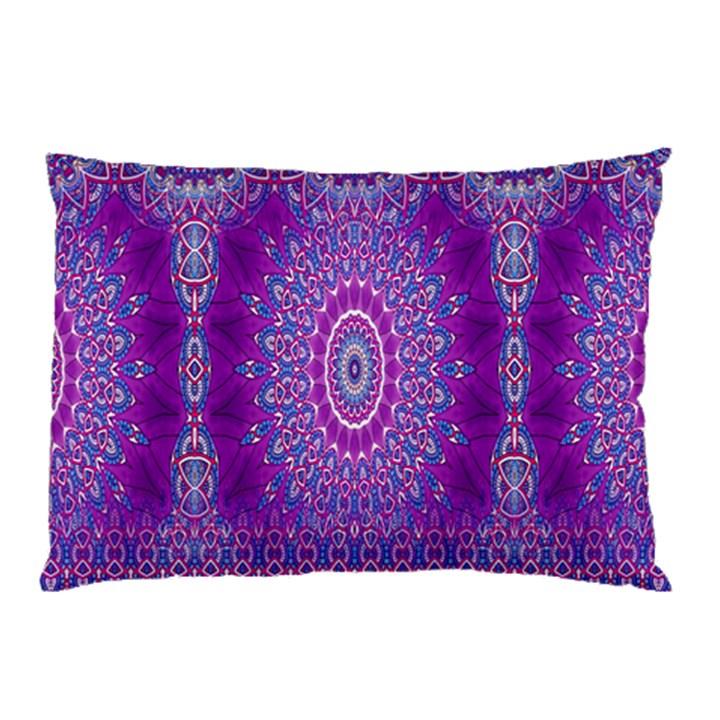 India Ornaments Mandala Pillar Blue Violet Pillow Case