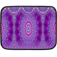 India Ornaments Mandala Pillar Blue Violet Double Sided Fleece Blanket (mini)  by EDDArt