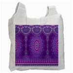 India Ornaments Mandala Pillar Blue Violet Recycle Bag (Two Side)  Front